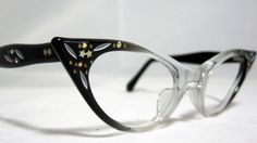 Vintage 60s Cat Eye Glasses. New Old Stock Black Fade with Rhinestones and Painted Designs on Etsy, $95.00
