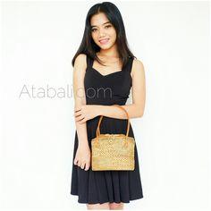 Ladies mini tote bag short leather strap balinese design