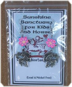 Tibetan Silver Horse  Dangle Earrings - Pink & Blue - Unique Handmade in USA #Handmade #DropDangle  Check out these darling horses, 100% of the purchase price goes to Sunshine Sanctuary to help save the Santa Cruz Island Horses...
