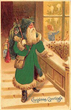 RARE Children Toys Bag Window Green Silk Suited Santa Claus Christmas Postcard | eBay