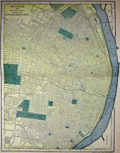 1900s Map St. Louis Missouri Streets Parks by MyPaperedPast