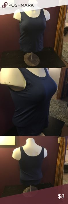 Stretchy tank Dark blue stretchy tank great to wear under your favorite shirt. Bali Tops Tank Tops