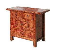 Rustic Lacquer Wood Country Side Cabinet - Golden Lotus Antiques