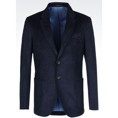 ARMANI COLLEZIONI Two Button Jacket ($995) ❤ liked on Polyvore featuring men's fashion, men's clothing, men's outerwear, men's jackets, navy blue and mens velvet jacket