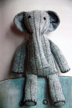 Sock elephant from a cast off sock.