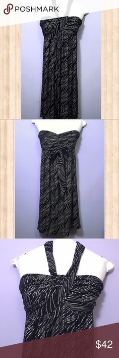 "Express black convertible halter/strapless dress Gorgeous black and silver convertible dress from Express.  Can be worn strapless or halter style.  Length-37"" Waist-11.5"" unstretched, but waist is extremely stretchy. Express Dresses"