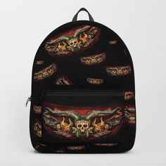 Skull And Beasts Pattern Backpack by dagmarreneeritter Beast, Skull, Backpacks, Pattern, Stuff To Buy, Model, Backpack, Patterns, Swatch