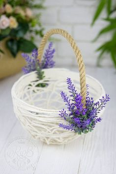 Green Wedding Basket Flower Girl Basket Lavender Greenery