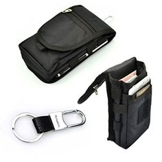 Multipurpose Large Capacity Vertical Smartphone Holster Belt Loop Waist Bag Money Pocket Cellphone Bag with Hook Ring for iPhone 6S 6 Plus LG G3/G4 Galaxy NOTE 5 S6 Edge +Free Hwin Keychain (Black)