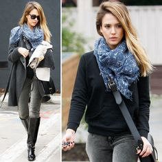 Jessica Alba's Sunday Style: Gray Coat + Skinny Corduroys