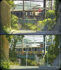 "Background Comparison in Anime ""Kotonoha no Niwa(言の葉の庭/The Garden of Words)"" by Shinkai Makoto, Tokyo, Japan Hayao Miyazaki, Studio Ghibli, Anime Vs Real Life, Real Anime, Anime Life, The Garden Of Words, Bg Design, Anime Places, Kimi No Na Wa"