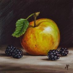 """Apple and Blackberries"" - Original Fine Art for Sale - © Jane Palmer"