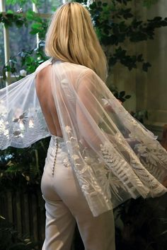 Bespoke, personalised bridal cape, hand-embroidered with silk thread. Capes, Cape Gown, Wedding Types, Bridal Cape, Silk Thread, Boho Bride, Hermione, Couture Collection, Bespoke