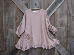 linen tunic with flower pocket rose pink by linenclothing on Etsy, $145.00
