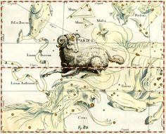 Aries Constellation, vintage celestial map printed on parchment paper, $8.90