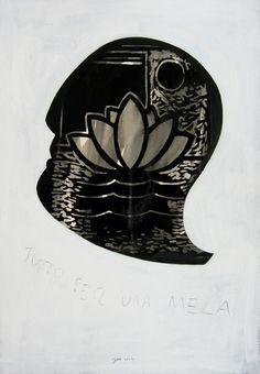 """andrea mattiello """"la cacciata dal Paradiso""""    acrilico e grafite su cartone vegetale cm 36x51,5; 2012 #arte #art #artecontemporanea #artista #artistaemergente #creatoredimmagini #tecnicamista #carta #paper #collage"""