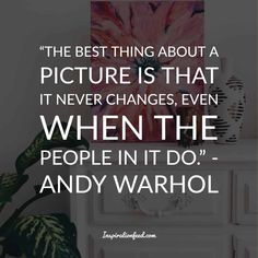 Andy Warhol Quotes Andy Warhol was born on August in Pittsburgh, Pennsylvania. He gained fame and success for his pop art masterpieces. Warhol was a proficient magazine and ad illustrator. He also dabbled in… Andy Warhol Artwork, Andy Warhol Quotes, Photo Manipulation, Picture Quotes, Mood Boards, Philosophy, Best Quotes, Social Media, Writing