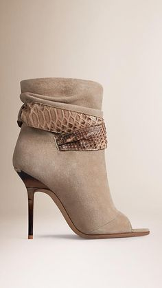 Sandstone Python Trim Suede Peep-Toe Ankle Boots - Image 3