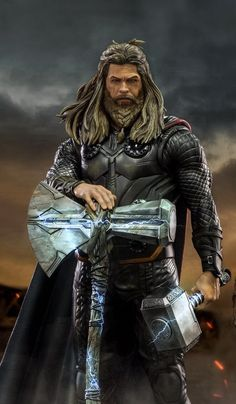 Thor is the first of the Marvel movies to get four solo movies. To celebrate the occasion, one fan h Thanos Marvel, Marvel Comics, Marvel Avengers, Marvel Fanart, Hero Marvel, Iron Man Avengers, Marvel Comic Universe, Captain Marvel, Japanese Art