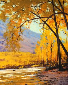 Golden Aspen Painting by artsaus.deviantart.com on @deviantART
