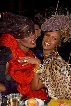 Grace Jones and Iman at Studio 54 Grace Jones, Studio 54, Twiggy, Black Girl Magic, Black Girls, Beautiful Black Women, Beautiful People, Mtv, Xiao Li