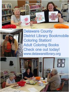 Delaware County District Library Bookmobile Coloring Station - Adult Coloring Books have arrived!  Check one out today!  Outreach Associate Chris Smith had a great idea to set up a coloring station during Bookmobile stops! www.delawarelibrary.org