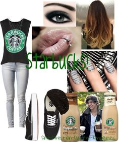 """∞Starbucks with Harry∞"" by one-direction-outfit-imagines ❤ liked on Polyvore"