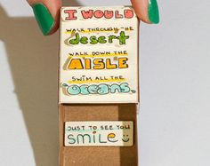 """Funny Love Card / Cute Anniversary Card / Matchbox / Gift box / Message box / """"I would do anything just to see you smile"""""""