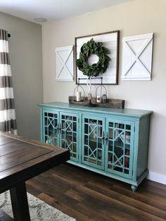 Decorative interior shutters. Farmhouse shutters. Shiplap sign. Wreath holder. X styled shutter