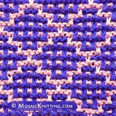 Best Crochet Stitches Mosaic Knitting in the round. How to knit the Checker Square Garter stitch. Works best with two strongly contrasting colors. Slip Stitch Knitting, Knitting Squares, Loom Knitting, Knitting Stitches, Baby Knitting, Vintage Knitting, Free Knitting, Two Color Knitting Patterns, Stitch Patterns