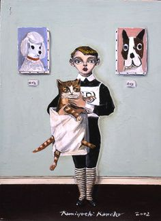 Kuniyoshi Kaneko    Cat contest 1 Oil on canvas 333 × 242mm 2002
