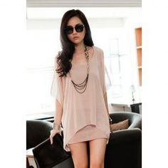 $7.86 Stylish Scoop Neck Off-The-Shoulder Chiffon Splicing Faux Twinset Dress For Women