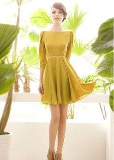 Elegant Three Quarter Sleeve Boat Neck Dress Yellow  wholesaleitonline.com !- For more amazing finds and inspiration visit us at http://www.brides-book.com