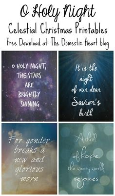 """Download one or all 4 of these free celestial Christmas printables, with lyrics from the Christmas classic, """"O Holy Night.""""  Download at TheDomesticHeart.com"""