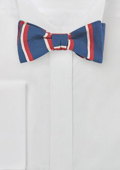 Striped Skinny Tie in Red, Blue, and Cream, $29.90   Cheap-Neckties.com