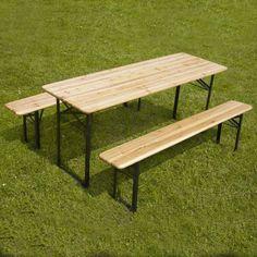 Table et 2 bancs pliants bois 180cm 6-8 places