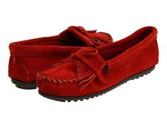 Minnetonka Kilty Suede Moc Women's Slip on Shoes - Red