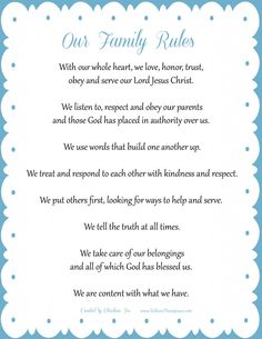 Family Rules - to show them Jesus