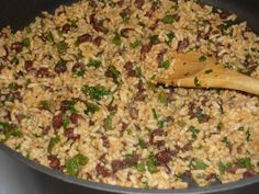 Rice With Black Beans,Cilantro and Lime ! Dishes To Go, Side Dishes, Mexican Enchiladas, Mexican Rice Recipes, Enchilada Recipes, Black Beans, Cilantro, Yummy Food, Tasty