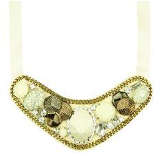 Maxi Colar Gola Pedras Marfim   Ligada na Moda