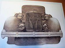 Classic Car Automobile Engraving of 1937 Packard Super 8 Formal Sedan