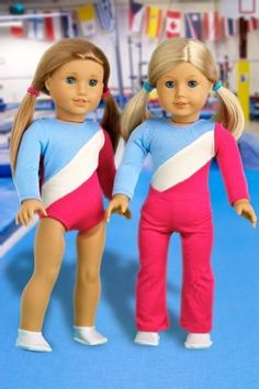 DreamWorld Collections Olympic Gymnast - 2 piece outfit includes gymnastic leotard and warmup pants (white booties not included) - Clothes for 18 inch Dolls : Activewear Doll Clothes