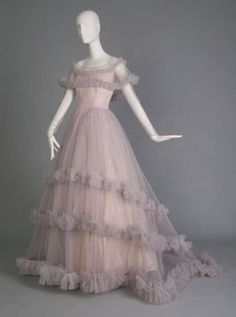 """Wedding Gown, Christian Dior (Paris, France) for Marshall Field & Co., Chicago: ca.1955, silk tulle, taffeta. """"Worn by Mrs. John William Straub, 1926-2007 née Jane Easter. Purchased at Marshall Field & Company Bridal Salon."""""""