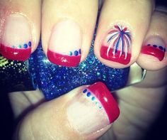 French Mani With Fireworks