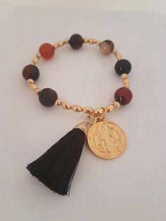 Saint Benedict, Tassel Bracelets #takkaibykarina #sanbenito #catholicjewelry #catholicgift #agatebracelets #tasselbracelets #bijoux2018 #handmadejewelry #stbenedictjewelry