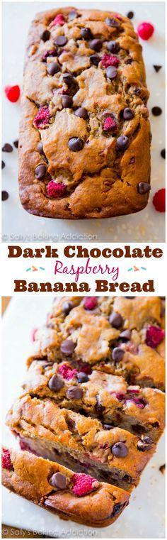 My favorite banana bread recipe! Super-moist brown sugar banana bread loaded with dark chocolate chips and juicy raspberries.