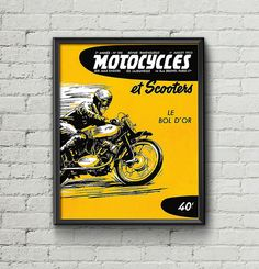 Affiche MOTOCYCLES et SCOOTERS 1953 - Garage Atelier Vintage - Limited Edition