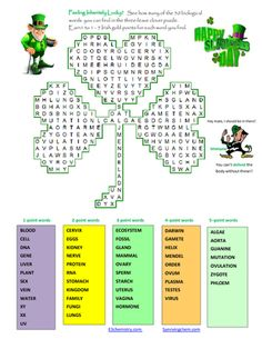 Biology dna crossword high school stuff pinterest biology st patricks day three leave clover word search puzzle for fun in biology malvernweather Choice Image