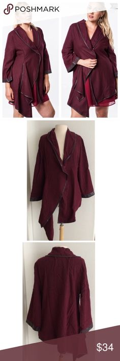3 LEFT! (Plus) Maroon jacket Maroon jacket. Materials- 60% cotton/ 40% polyester. This is a beautifully colored jacket. There is one snap closure in the middle of the jacket and there are pockets on each side. Faux leather trim. Runs slightly small- order a size up, please.  Availability- XL•1x•2x • 3•0•0 ⭐️This item is brand new with manufacturers tags, boutique tags, or in original packaging. 🚫NO TRADES 💲Price is firm unless bundled 💰Ask about bundle discounts Jackets & Coats