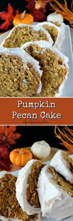 Pumpkin Pecan Cake - This pumpkin pecan cake is a perfect dessert to make for the holidays! The pumpkin aroma that fills the kitchen is amazing!